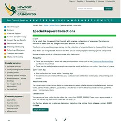 Special Request Collections - Newport City Council