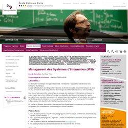Mastère Spécialisé management Systèmes information, Ecole Centrale Paris