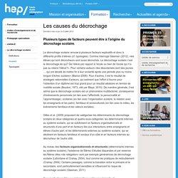 Causes - Le décrochage scolaire - LASALE - Pédagogie spécialisée - Unités d'enseignement et de recherche - Formation