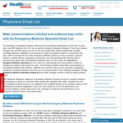 Emergency Medicine Specialist Email List, Mailing Addresses and Database from Healthcare Marketers