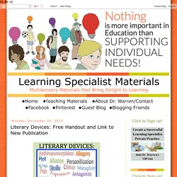 Learning Specialist and Teacher Materials - Good Sensory Learning: Literary Devices: Free Handout and Link to New Publication