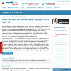 Plastic Surgery Specialists Email List, Mailing Addresses Database