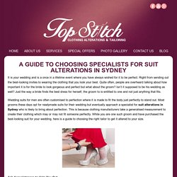 A Guide to Choosing Specialists for Suit Alterations in Sydney -