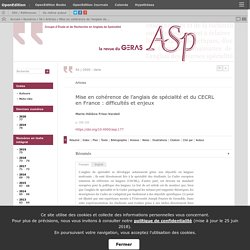 Mise en cohérence de l'anglais de spécialité et du CECRL en France: difficultés et enjeux
