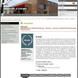 MASTER Finance SPECIALITE Banque - Finance - Assurance FINALITE Professionnelle et Recherche - Catalogue des Formations