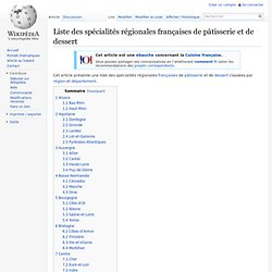 Liste des spécialités régionales françaises de pâtisserie et de dessert