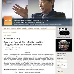 Openness, Dynamic Specialization, and the Disaggregated Future of Higher Education