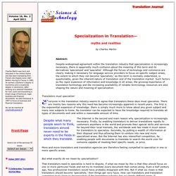 Specialization in Translation