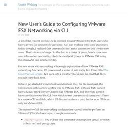 New User's Guide to Configuring VMware ESX Networking via CLI