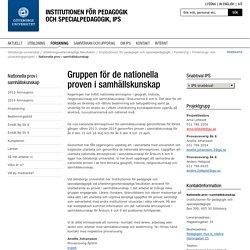 Nationella prov i samhällskunskap - Institutionen för pedagogik och specialpedagogik, IPS, Göteborgs universitet
