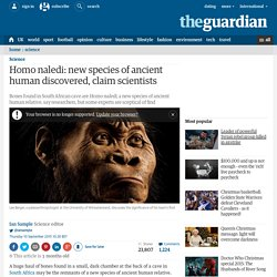 Homo naledi: new species of ancient human discovered, claim scientists