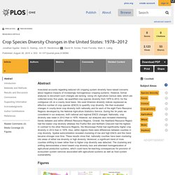 PLOS 26/08/15 Crop Species Diversity Changes in the United States: 1978–2012