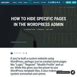How to Hide Specific Pages in the WordPress Admin