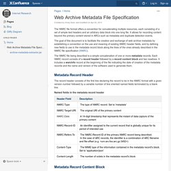 Web Archive Metadata File Specification - Internet Research - IA Webteam Confluence