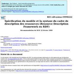 Spécification du modèle et la syntaxe du cadre de description de