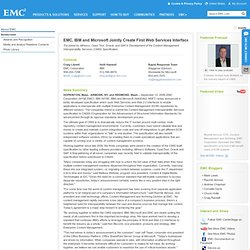 Press Release: EMC, IBM and Microsoft Jointly Create First Web S