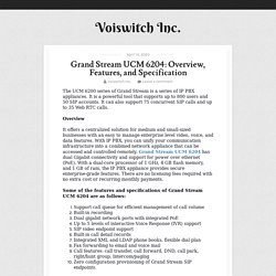 Grand Stream UCM 6204: Overview, Features, and Specification