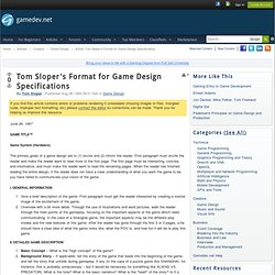 Tom Sloper's Format for Game Design Specifications
