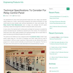 Technical Specifications To Consider For Relay Control Panel