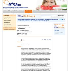 EFSA 04/06/09 Proposed technical specifications for a survey on Listeria monocytogenes in selected categories of ready-to-eat fo