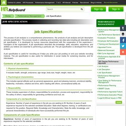 Job Specifications – HRMS Free Sample formats, Templates