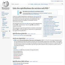Liste des spécifications des services web WS-*