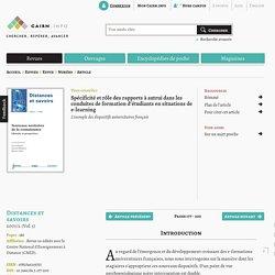 Spécificité et rôle des rapports à autrui dans les conduites de formation d'étudiants en situations de e-learning