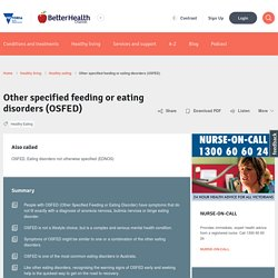 Other specified feeding or eating disorders (OSFED)