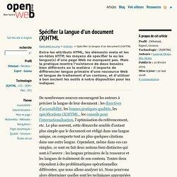Spécifier la langue d'un document (X)HTML