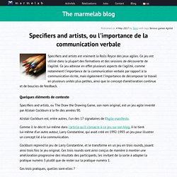 Specifiers and artists, ou l'importance de la communication verbale