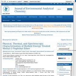 Physical, Thermal, and Spectroscopic Characterization of Biofield Energy Treated Methyl-2-Naphthyl Ether