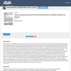 Fish Peptone - Physical, Thermal, Spectroscopic Characterization