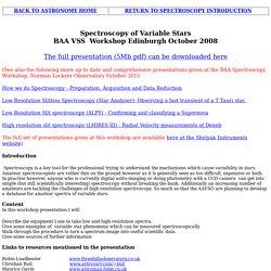 ROBIN'S ASTRONOMY PAGE spectroscopy_10 BAA VSS workshop presentation 2008