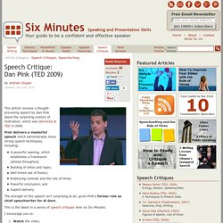 Speech Critique: Dan Pink (TED 2009)
