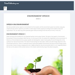 Speech on Environment for Students in simple and easy words