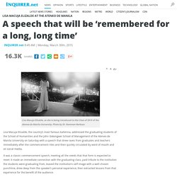 A speech that will be 'remembered for a long, long time'