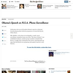 Obama's Speech on N.S.A. Phone Surveillance