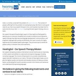 Best Speech Therapist & Clinic in Delhi NCR India - HearingSol