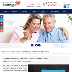 Speech Therapy: Ability to Speak Without Limits