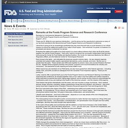 FDA 01/08/12 Remarks at the Foods Program Science and Research Conference