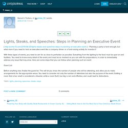 Lights, Steaks, and Speeches: Steps in Planning an Executive Event