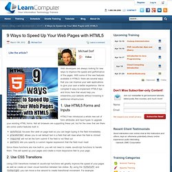 9 Ways to Speed Up Your Web Pages with HTML5