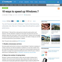 10 ways to speed up Windows 7