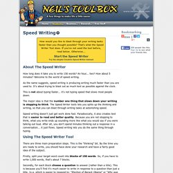Speed Writer-Neil's Toolbox
