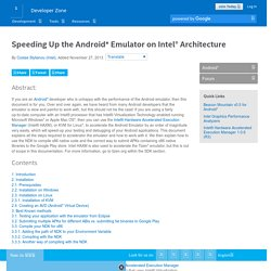 Speeding Up the Android* Emulator on Intel® Architecture