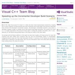 Speeding up the Incremental Developer Build Scenario - Visual C++ Team Blog