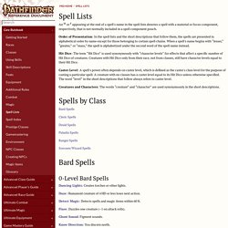 Spell Lists