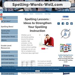 Spelling Lessons and Spelling Strategies to Improve Spelling
