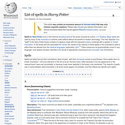 List of spells in Harry Potter