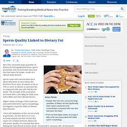 %20Sperm Quality Linked to Dietary Fat - in Urology, General Urology from MedPage Today